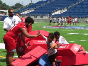 Football training with younger kids at the PFHOF
